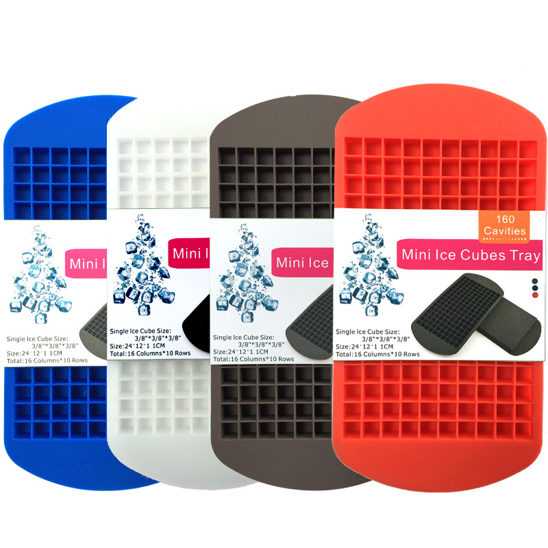 Food Grade Mini Crushed Ice 160 Cavity Silicone Ice Cubes Tray Fruit DIY Square Small Ice Cube Mold